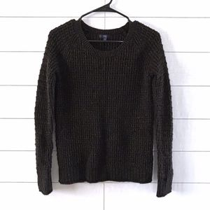 Gap Black Gold Metallic Knit Crew Neck Sweater